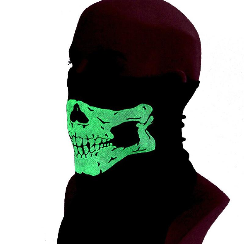 户外骑行防尘防风沙面罩多功能骷髅面具夜光男半脸透气迷彩面巾