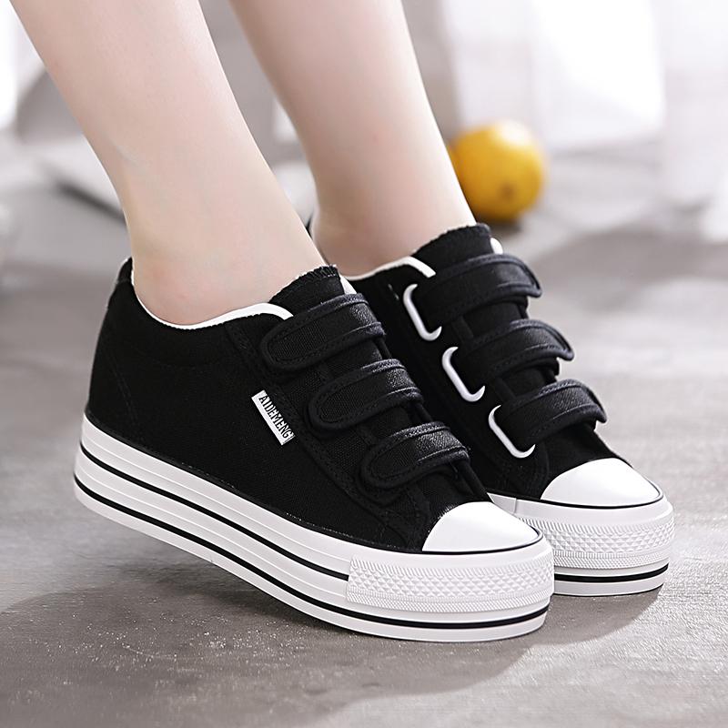 2020春夏季新款厚底内增高帆布鞋女鞋魔术贴百搭学生黑色小白鞋子图片