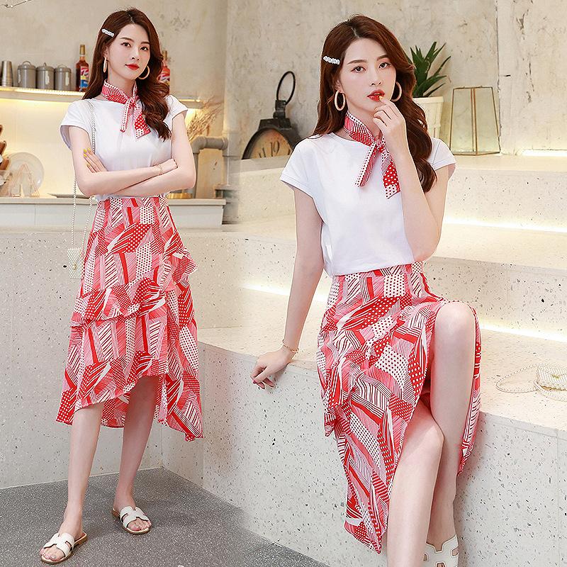 实拍2019夏季新款女装很仙的连衣裙气质时尚洋气甜美套装两件套裙