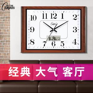 康巴丝客厅挂钟表静音卧室办公挂表简约日历时钟家用石英钟万年历