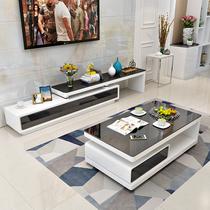 简约现代茶几电视柜组合时尚客厅钢化玻璃烤漆长方形茶几电视柜