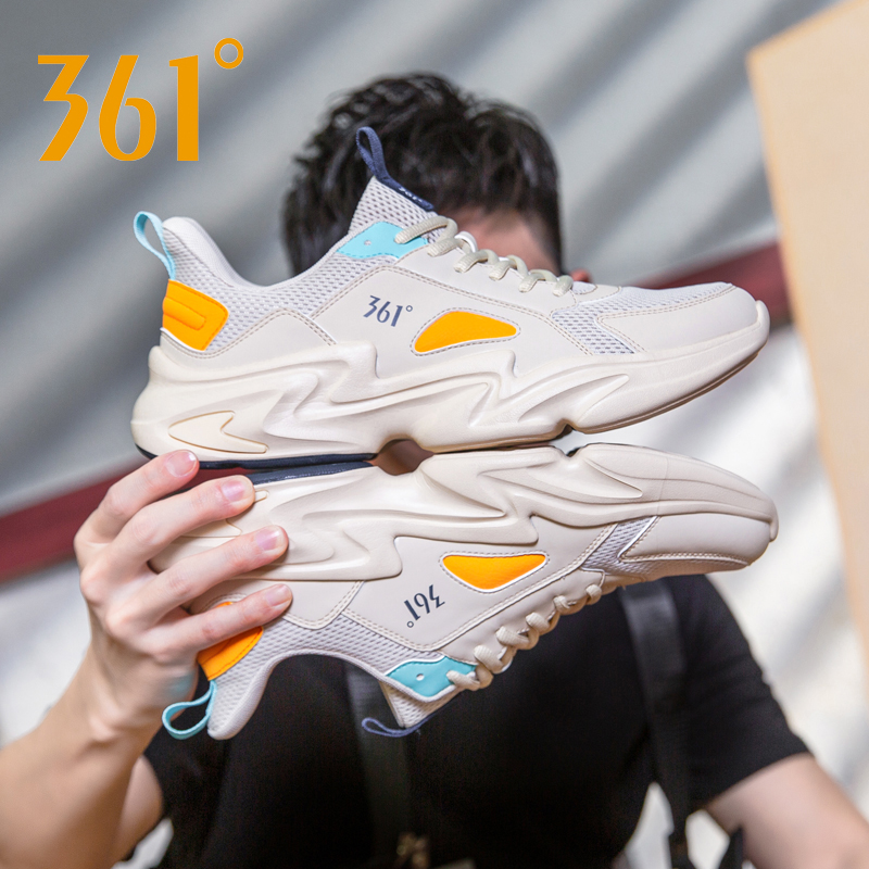 361男鞋运动鞋夏季361度情侣休闲鞋子老爹鞋男士网面透气跑步鞋男图片