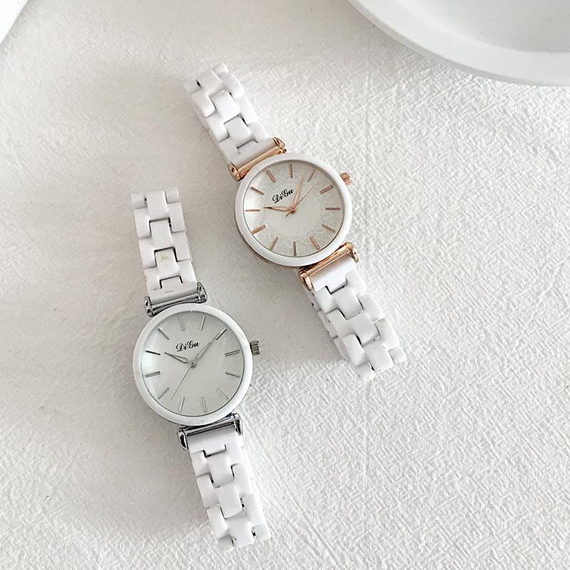 vintage陶瓷女白色韩版简约手表