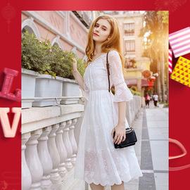 很仙的荷叶袖小白裙 2020春季新款女装V领绣花雪纺连衣裙68686图片