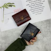 新款韩版钱包女短款简约搭扣小钱夹欧美复古三折叠卡包零钱包2018