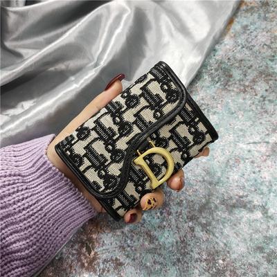 欧美印花帆布小卡包女短款搭扣折叠零钱包多卡位风琴式名片夹驾驶