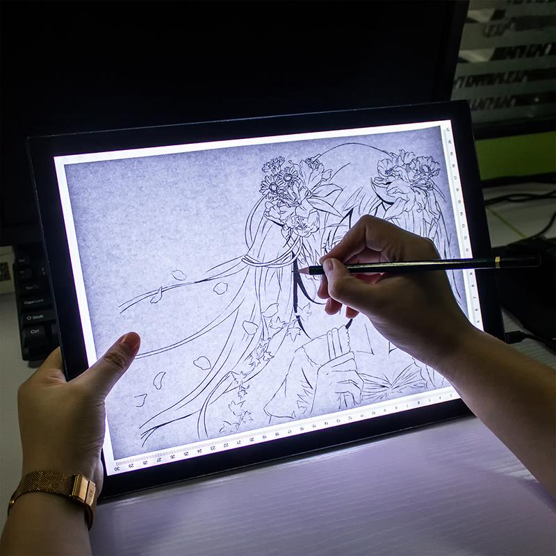 A4拷贝台LED临摹台透光板绘画画板动漫画工具箱书法素描国画发光透写台看片台带磁吸