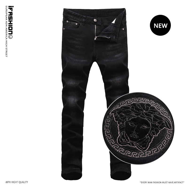IFashion European and American trend 2021 new wash embroidery high end autumn and winter mens slim fit small leg elastic jeans
