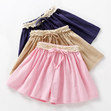 Girls'Shorts 2019 New Summer Dresses Children's Skirts, Cotton and Hemp Babies Outside Wear Westernized Thin Pants and Skirts