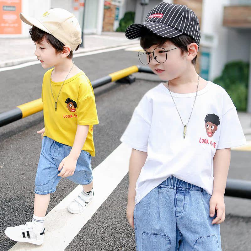 2019夏季童装两件套棉质儿童上衣短袖t恤套装男休闲男孩牛仔短裤