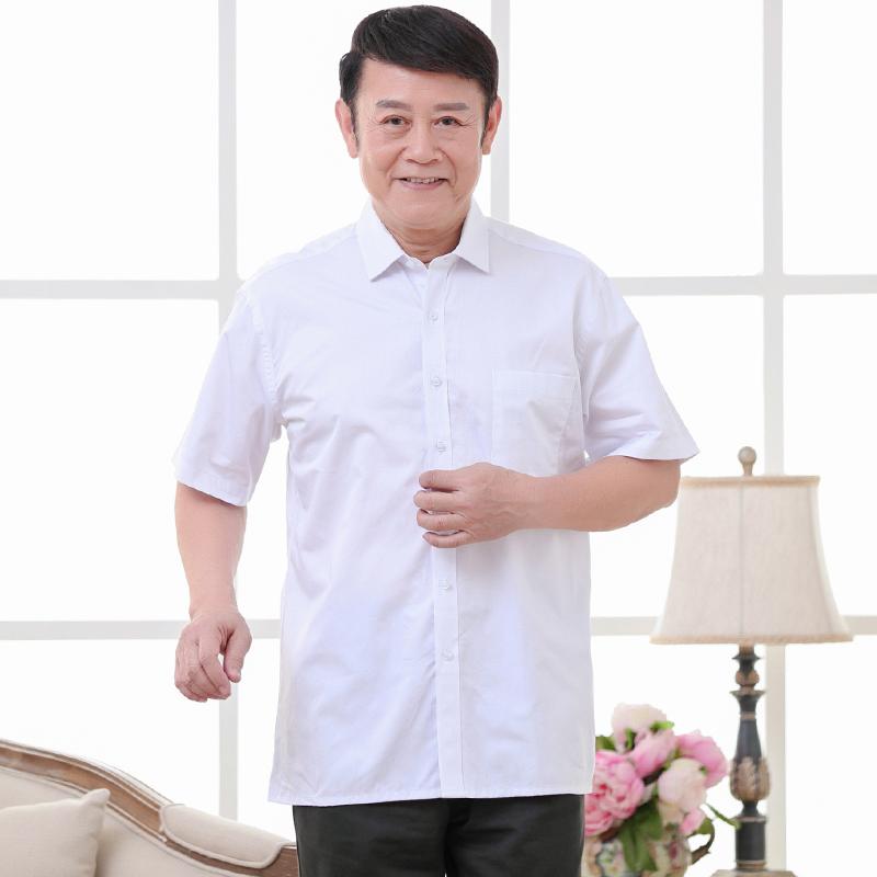 夏季薄款中年人男士短袖衬衫爸爸装老人宽松半袖衬衣夏装平角上衣