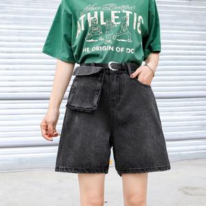 實拍大碼口袋女褲2020春裝新款高腰熱褲顯瘦夏季薄款寬松潮ins