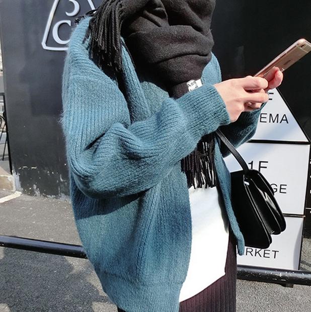 2017春装新款长袖毛衣外套女短款宽松韩版纯色显瘦针织开衫潮