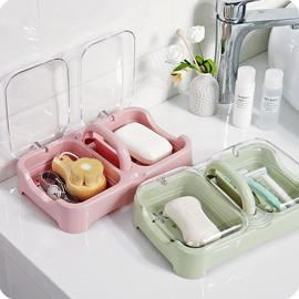 帶蓋雙格創意洗衣皂盒瀝水肥皂盒香皂盒大號便攜多層有蓋雙層旅行圖片