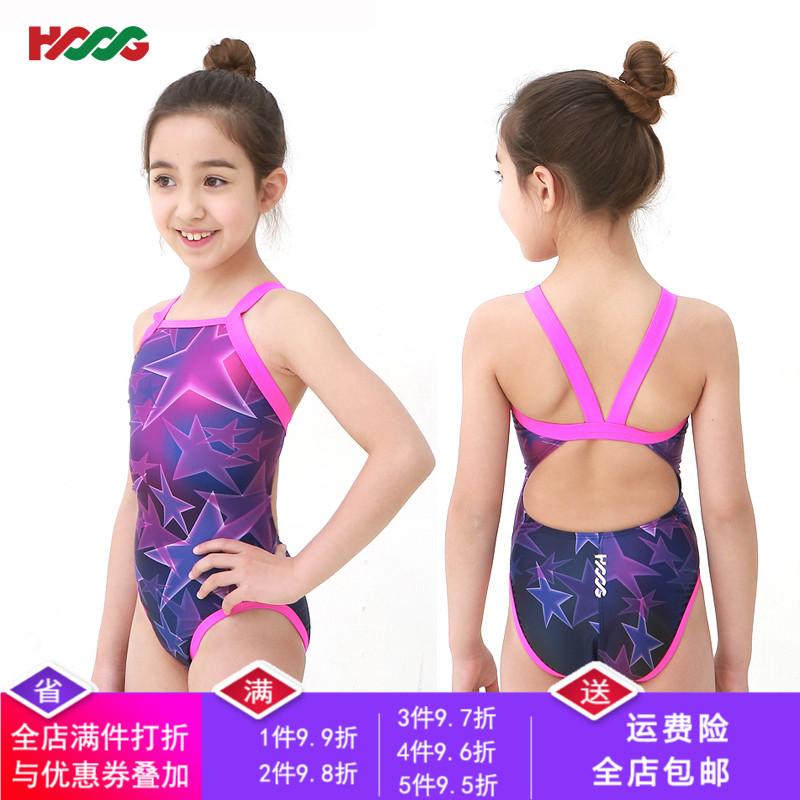 儿童泳衣专业连体三角训练比赛学生女童中大童游泳衣韩国进口 HOOG