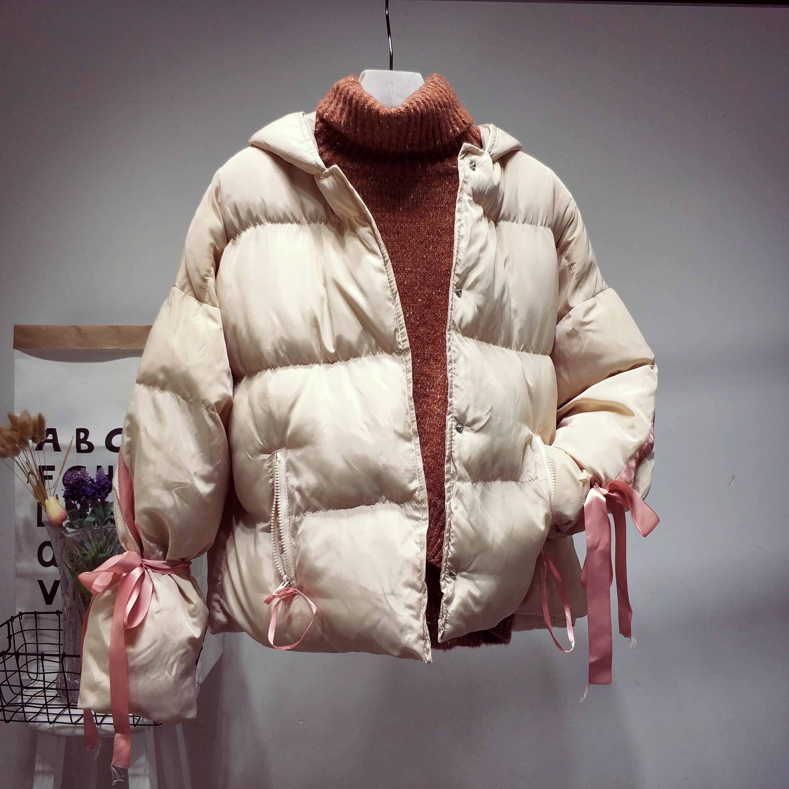 2018新款外套女冬季短款加厚棉袄修身chi蝴蝶结服女装面包服棉衣