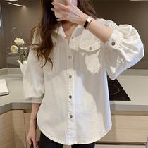 衬衫女春季设计感小众工装衬衣大码宽松胖mm复古港风牛仔外套上衣