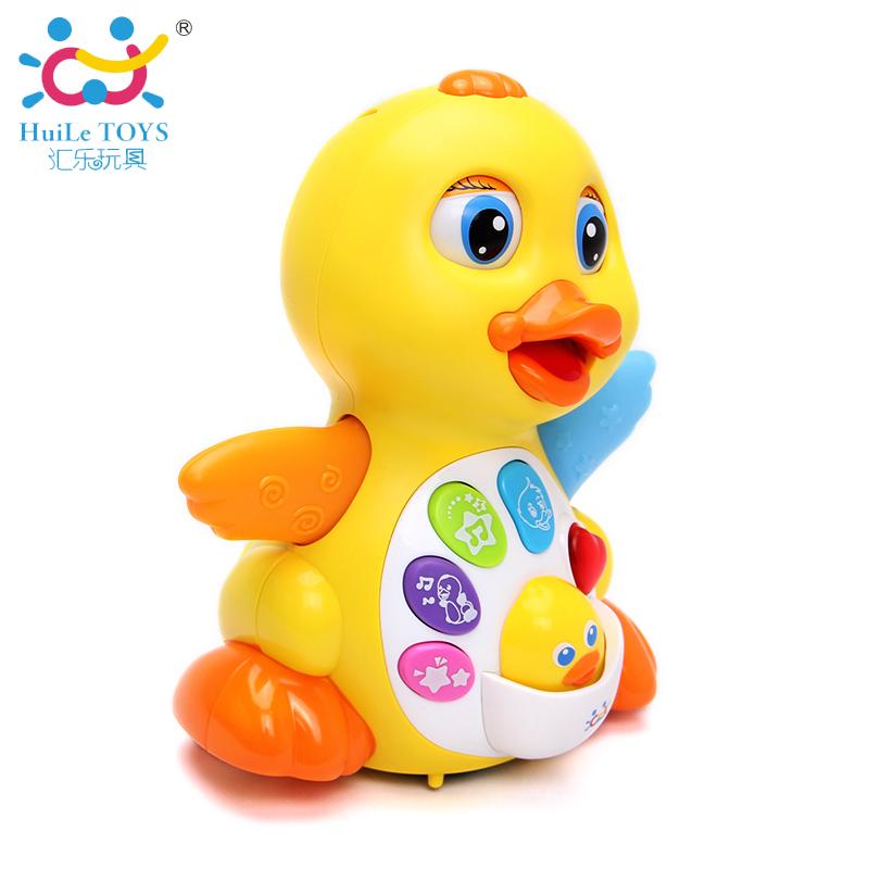 彙樂808EQ搖擺大黃鴨兒童動物電動萬向燈光1~3歲嬰兒寶寶音樂玩具