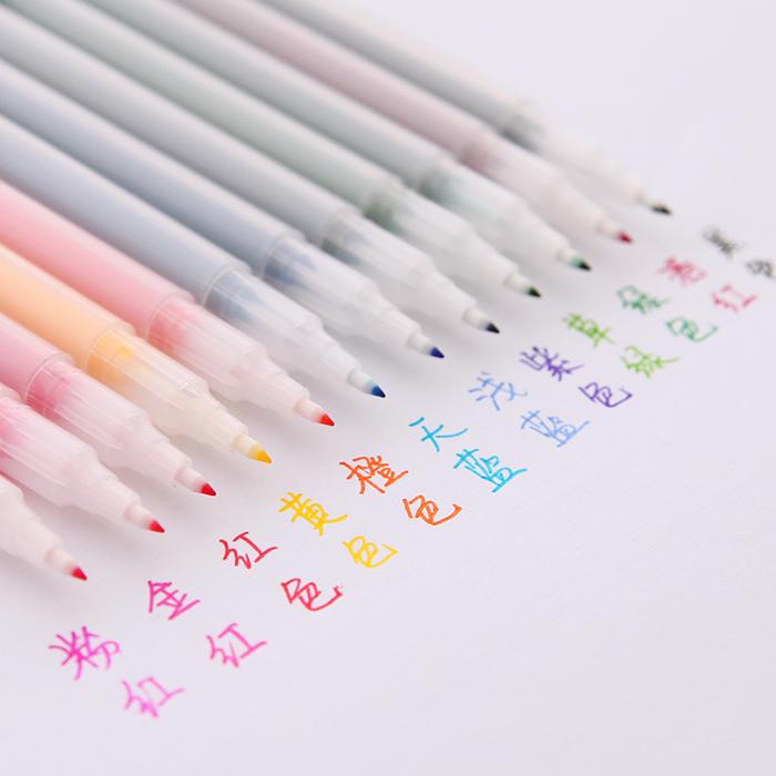 日韩创意24色纤维笔彩色中性笔水性勾线勾边荧光手帐插画笔水彩笔
