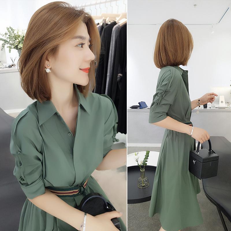 2019年新款秋装中长款ol气质连衣裙(非品牌)