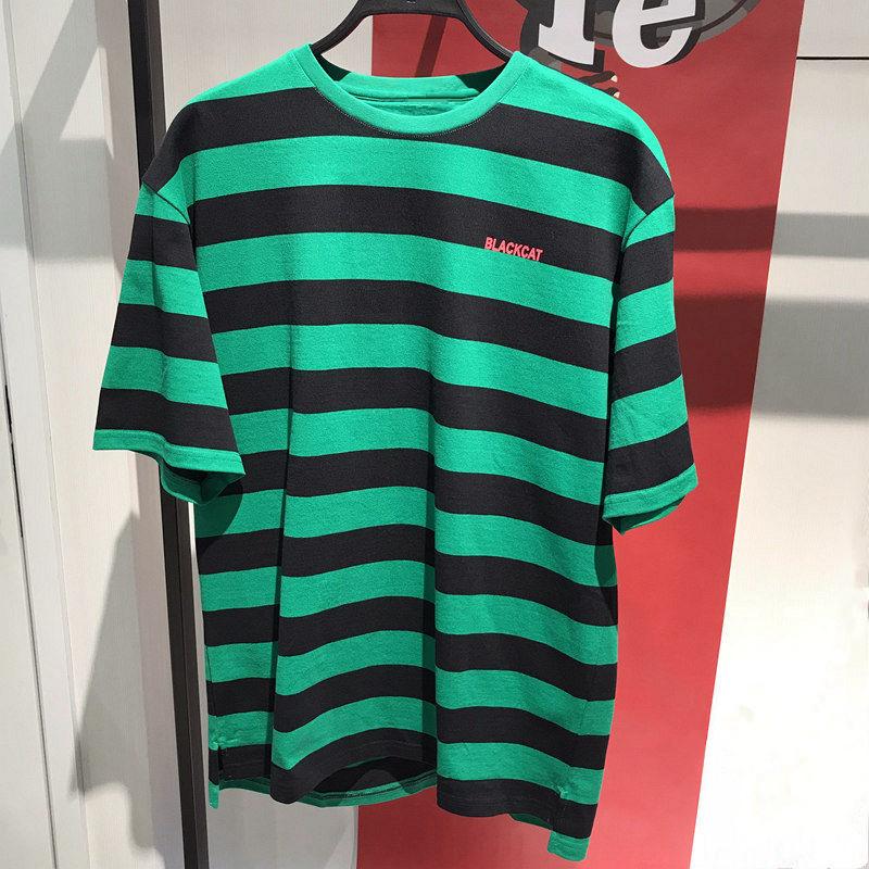 11-28新券夏季新款男士时尚潮牌男生绿色条纹纯棉修身圆领短袖t恤