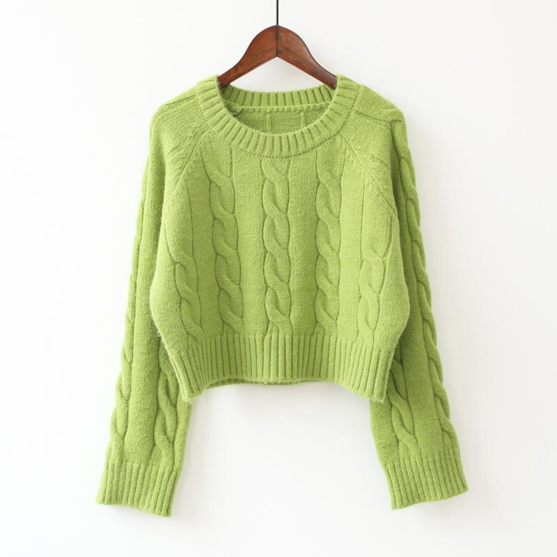 牛油果绿短款小个子套头毛衣女韩版学生显瘦外穿针织上衣秋冬新款