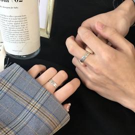 s925纯银情侣戒指女时尚个性ins网红冷淡风小众设计可调节指环潮