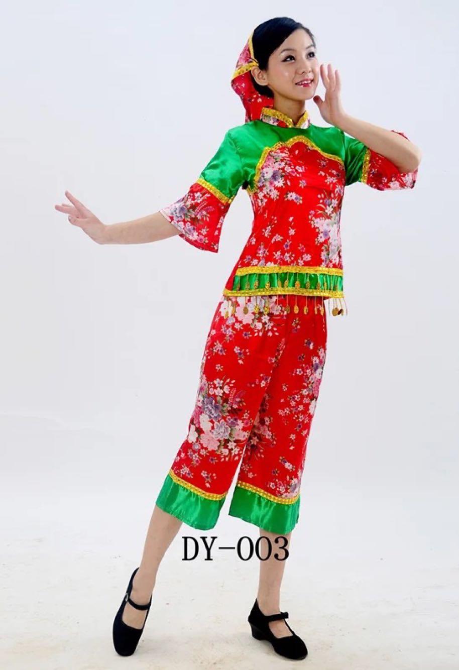 秧歌服采茶舞蹈演出服装女 民族风舞蹈服 村姑采茶女腰鼓服表演服