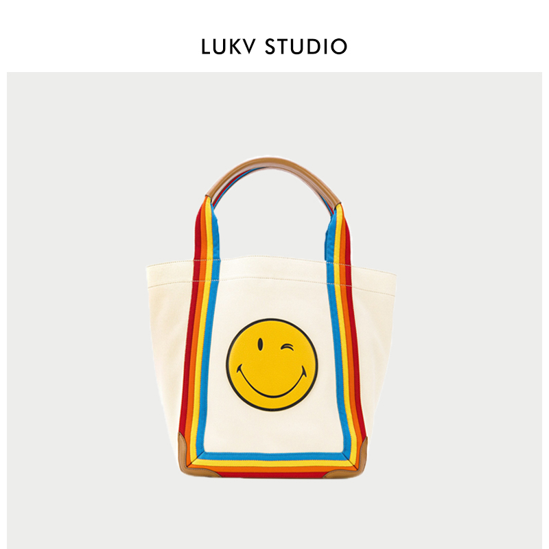 2020 new rainbow smile face BAG canvas bag simple TOTE BAG 100 hand bill of lading shoulder bag womens big bag Mommy bag