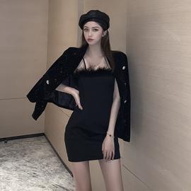 秋冬女装西装外套女神范两件套装冬季气质性感紧身包臀吊带连衣裙