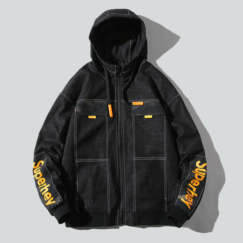2020 new mens jacket, jacket, cool and casual, spring and autumn short style with hat, Korean trend, thin and versatile cotton