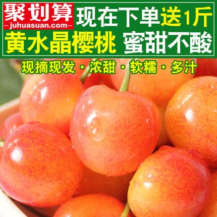 烟台大樱桃甜车厘子新鲜水果5山东黄水晶黄蜜樱桃3斤现摘现发包邮