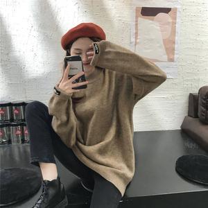 實拍實價+5秋冬韓國復古簡約套頭加厚針織衫慵懶風寬松毛衣