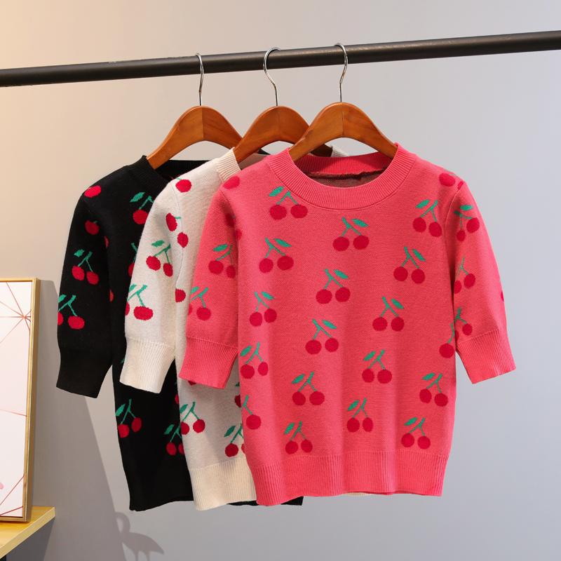 春秋季中袖毛衣提花樱桃半袖打底衫半高领学院风五分袖套头T恤女图片