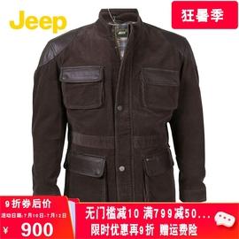 JEEP/吉普款男灯芯绒立领贴皮棉衣大码条绒棉服外套JW12WJ231宽松