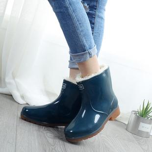 女加棉加绒雨靴防滑防水牛筋底中筒水靴保暖胶鞋 水鞋 回力秋冬雨鞋