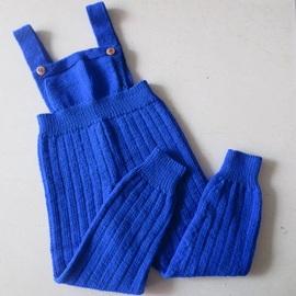 婴儿开裆吊带羊毛裤宝宝棉儿童毛线背带裤手工编织宝宝幼儿园长裤