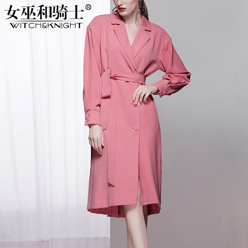 2018秋季新款欧美中长款长袖风衣女装新款通勤薄款外套时尚风衣