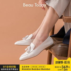 BeauToday2020夏季新款英伦风单鞋女鞋平底鞋乐福鞋粗跟小真皮鞋