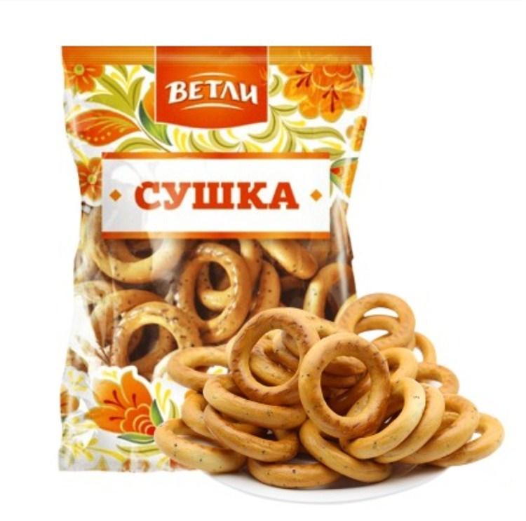 俄罗斯进口小麦面包圈低糖低卡代餐面包饼干250克