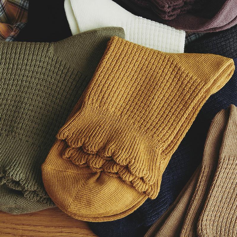 女堆堆袜纯棉中筒袜潮袜子全棉复古日系木耳边短袜姜黄色秋冬季