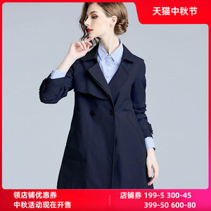 香衣丽橱2020秋季新款女装藏青色修身显瘦小个子短款外套风衣女