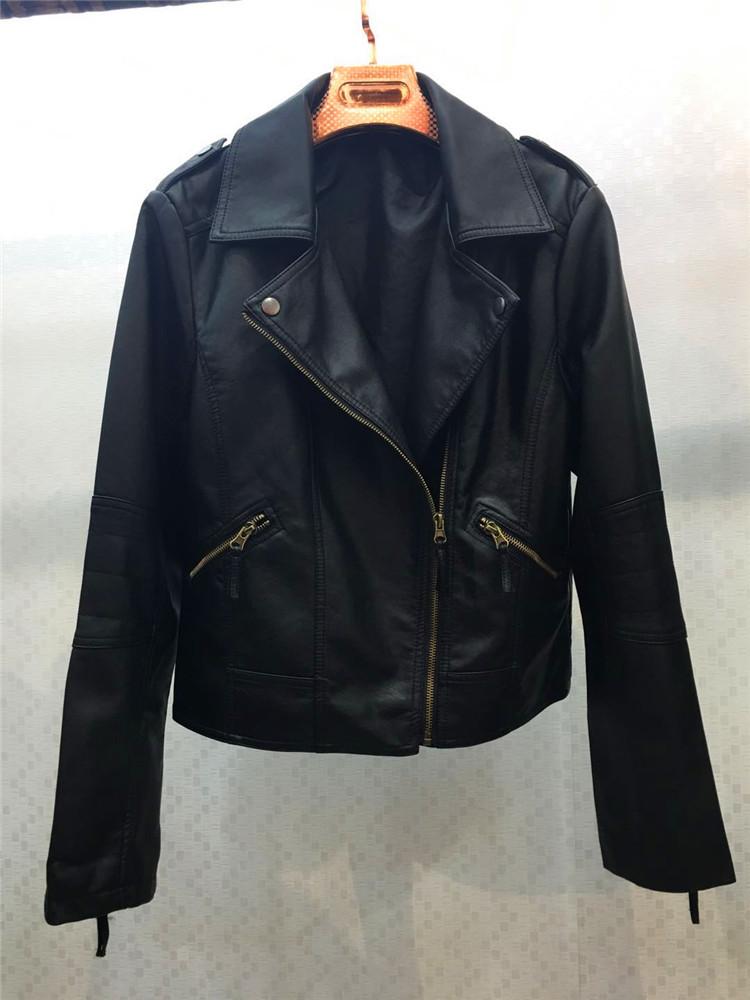大码女装200斤胖MM皮衣短款修身机车韩版翻领夹克冬外套加绒加厚