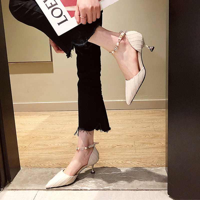 2021 summer new Baotou sandals fairy style thin heel versatile one word with hollow pointed sexy high heel shoes