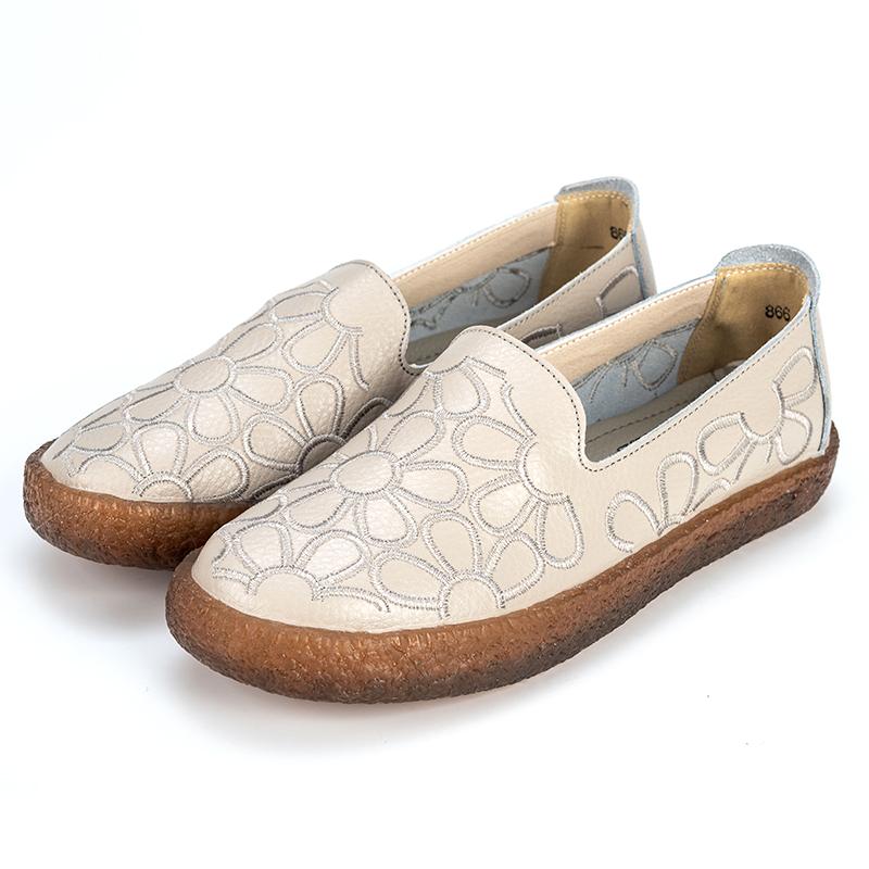中老年皮鞋真皮妈妈鞋软底防滑中年女鞋舒适孕妇单鞋司机平底春季