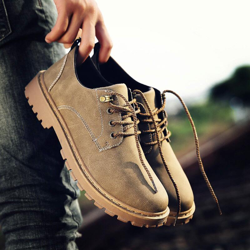 夏季短靴男韩版潮流休闲鞋工装大头皮鞋低帮复古板鞋马丁靴男靴子