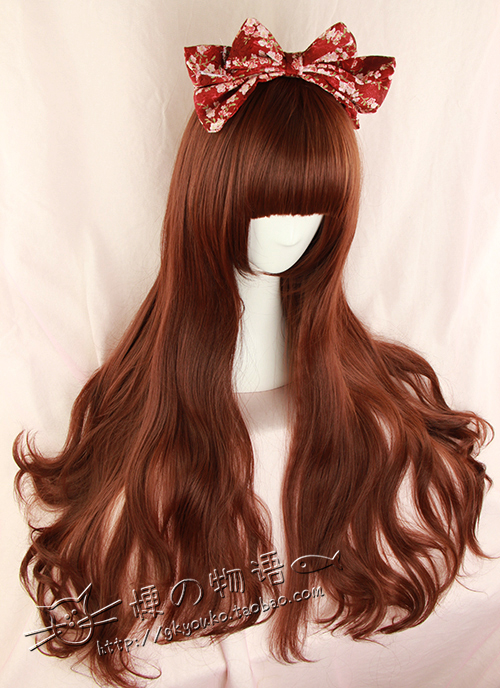 Kyouko wig | exclusive new Lolita / everyday / cos red brown / Caramel long roll pear blossom 75cm