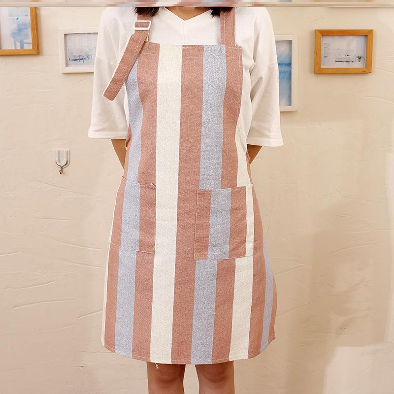 清洁可爱服务员家居小围裙女成人短款护衣男女式拼接背带式文艺