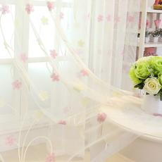 窗帘窗纱客厅卧室亚麻蓝色绣花中式隔断刺绣阳台落地薄纱白纱纱帘
