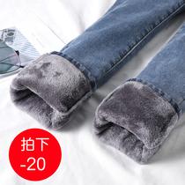加绒加厚牛仔裤女2020年新款冬季高腰显瘦外穿弹力紧身小脚长裤子